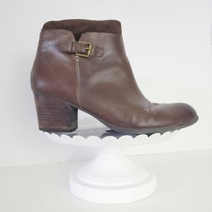 Franco Sarto Brown Leather Stacked Heel Boot 9.5